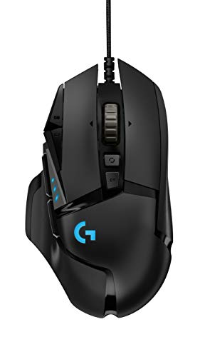 Logitech G502 Hero High Performance Wired Gaming Mouse, Hero 16K Sensor, 16,000 DPI, RGB, Adjustable Weights, 11 Programmable Buttons, On-Board Memory, PC/Mac - Black (German Packaging)