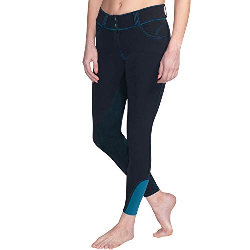 ELATION Leather Full Seat Breeches for Women, Black Dressage Pants - Platinum Hudson Schooling, Show & Riding Breeches for Women w/Performance Waist Band, 4 Pockets - Dressage Gifts (Black, 30R)