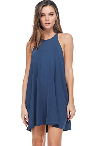 A+D Women's Halter Tank Summer Dress – Casual Flowy Swing Tunic Sundress (Dark Denim, Large)