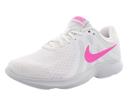 Nike Women's Revolution 4 Running Shoe, White/Laser Fuchsia - Pure Platinum, 8...