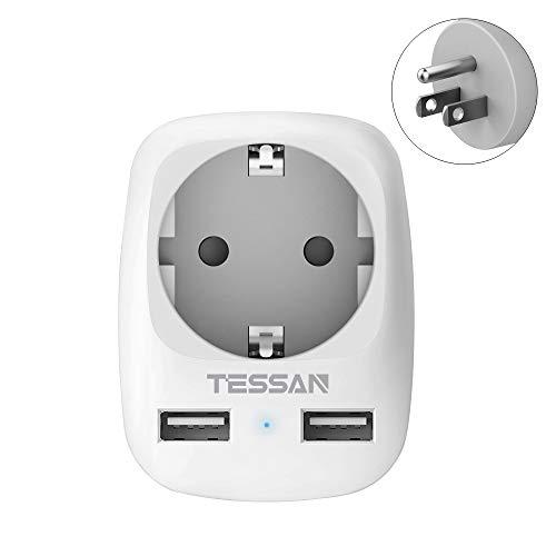 Tesan Reisadapter USA Adapter Amerika Duitsland stekker met 2 USB (2.4A), stekkeradapter reisstekker stroomadapter voor Canada Thailand Mexico muurlaadstation, adapter USA stopcontact
