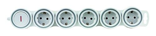 REV Ritter 15520115 SupraFlex Steckdosenleiste 5-Fach mit beweglichen Steckdosen | Stromverteiler | Mehrfachsteckdose | 2pol. Schalter | Anschlussleitung 1,4m | weiß, 230 V