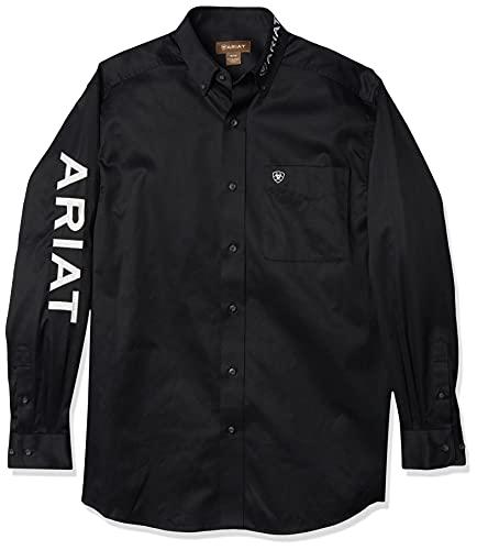 Ariat Men's Big Team Logo Long Sleeve Twill Shirt, Black White, XX-Large- Tall