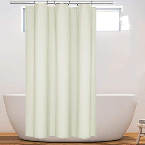 Eforcurtain Heavy Duty Solid Shower Curtain Fabric with 7 Grommets, Waterproof Bathroom Curtain Beige, Small Size 36x72inch