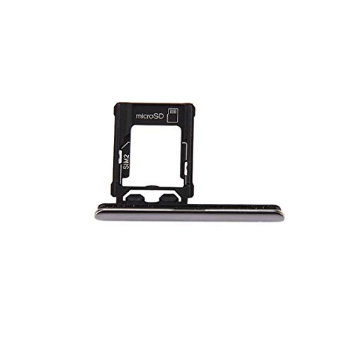 Moonbaby nieuwe Micro SD/SIM-kaart lade + kaartsleuf poort stofplug voor Sony Xperia XZ Premium (Dual SIM versie) (zwart), ZILVER