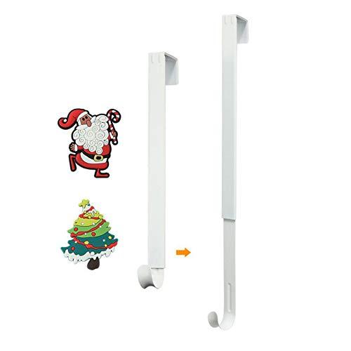 Wreath Hanger for Front Door, HangerSpace Over Door Wreath Hook Wreath Holder Adjustable Length 15 inch - 24 inch with 2 Magnets Christmas Decoration - White