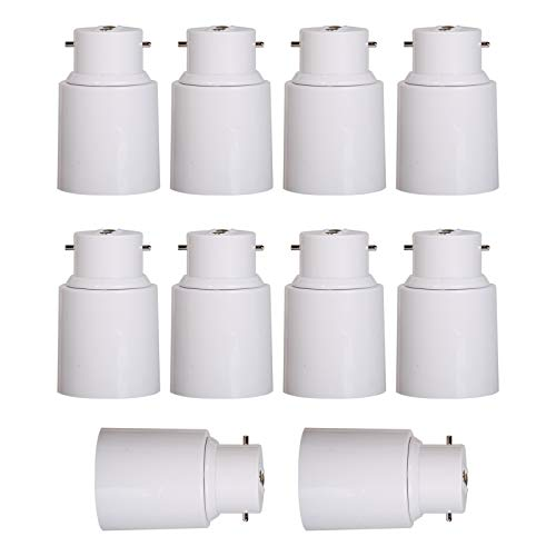 OeyeO B22 a E27 de la lámpara LED base adaptador, blanco adaptador bombilla para bombillas LED de bajo consumo, 10 unidades