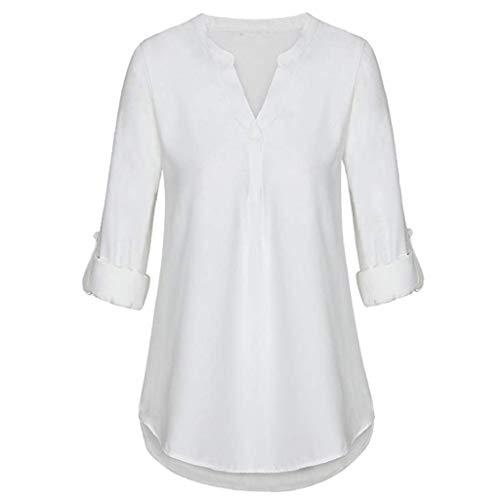 Luckycat Blusas Longsleeved Top Rojo XL para Mujeres White M