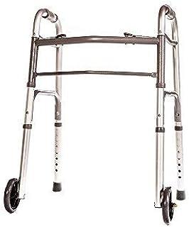 HEALTHLINE Junior Folding Walker with Wheels, Lightweight Deluxe 2 Button Folding Walker with 5-inch Wheels, Adjustable Me...
