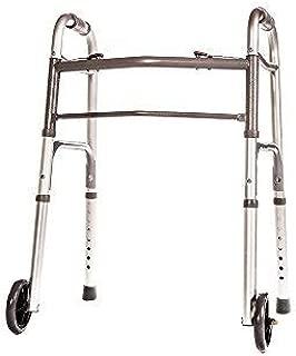HEALTHLINE Junior Folding Walker with Wheels, Lightweight Deluxe 2 Button Folding Walker with 5-inch Wheels, Adjustable Medical Pediatric Small Aluminum Front Wheeled Walker for Seniors & Children