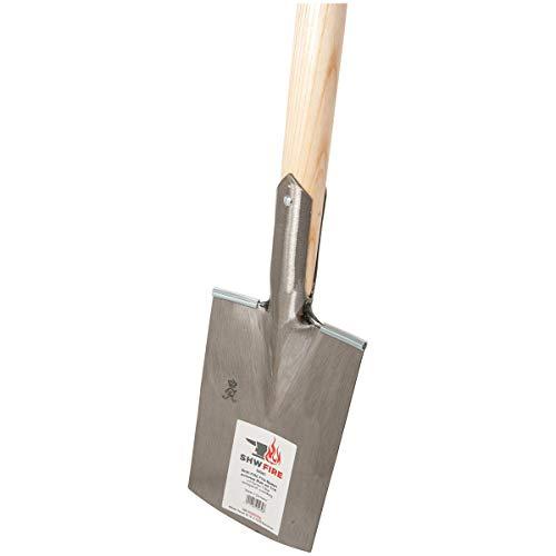 SHW-FIRE 59043 Damenspaten Gärtnerspaten Spaten Stahl Damen Klein Leicht Trittschutz mit Stiel Holzstiel 93 cm T-Griff Abgerundet