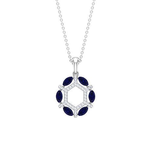 Collar de diamantes y zafiro azul de 1,55 quilates, joyería de declaración, cadena de oro colgante (2,50 x 5 mm zafiro azul en forma de marquesa) azul
