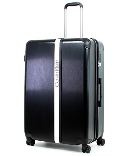 Calvin Klein Avenue Lanes Hardside Spinner Luggage with TSA Lock, Black/White, 28 Inch