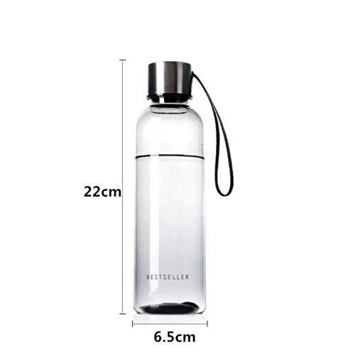 NCDFH 500 ML brève Bouteille d'eau Vogue Femme Hommes Bouteille d'eau étanche BPA Sport Bouteille d'eau Potable avec Sangle de transport-500 ML_Blanc