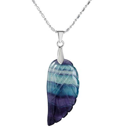 Nupuyai Edelstein Flügel Anhänger mit Kette für Damen, Kristall Fluorit Stein Engelsflügel Halskette für Unisex