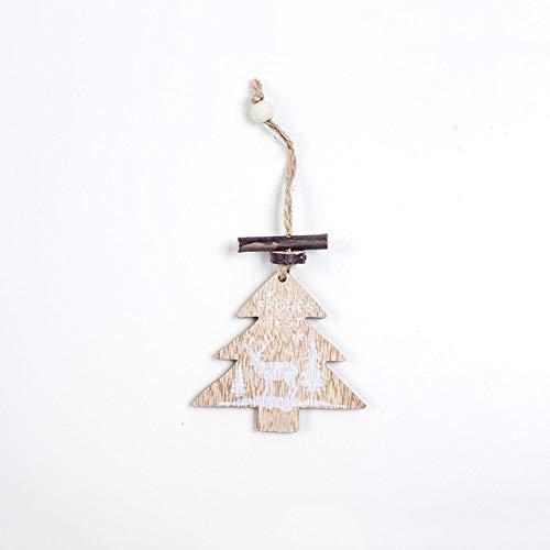 JGFDVBBNM Christbaumschmuck Weihnachten Holzornamente Weihnachtsbaum Modell Anhänger Schneeflocke Stern Uhr Weihnachtsfeier Dekoration für Familie Weihnachtsgeschenke, 15