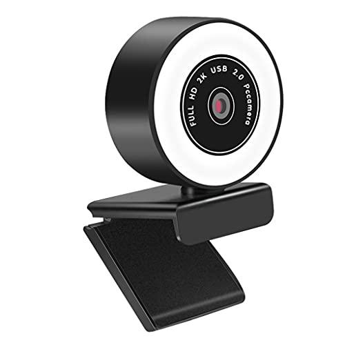 RYSF Cámara de rotación de 360 ° Brillo Ajustable Webcam 1080P 2K Cámara Web Streaming Webcam para con luz de Anillo de micrófono