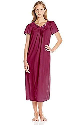 Miss Elaine Women's Plus-Size Tricot Long Flutter Sleeve Gown (1X, Dark Cherry)