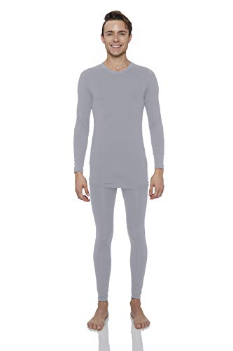 Rocky Thermal Underwear for Men Midweight Fleece Lined Thermals Men's Base Layer Long John Set (Grey - Midweight (Fleece) - Large)