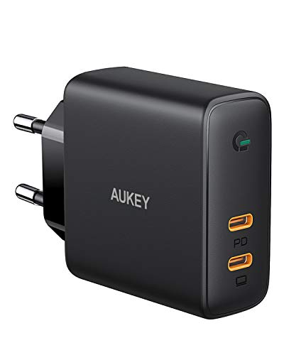 Aukey Usb C Caricatore da Muro 60W, Caricatore Usb C Compower Delivery, Caricatore Usb da Muro Comgan Tech Per Macbook Pro, Iphone 11 /11 Pro / Pro Max, Pixel 3 / 3Xl, Nintendo Switch Ecc