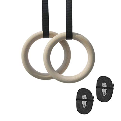 Ketamyy Gymnastic Rings, Wood Olympic Rings with Adjustable Straps Buckle Athletic Rings for Muscle Building Cross-Training Workout Pull-Ups Dips 【Child】25MM Width/Webbing with Embroidery Mark - 2.6CM