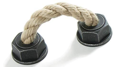 LGM-Beschlag Möbelgriff Rope, Landhaus, Vintage, Seil, Kunststoff - grau-silber, Schnur - beige, 101 mm x 50 mm x 37 mm, LA 64 mm, 51866