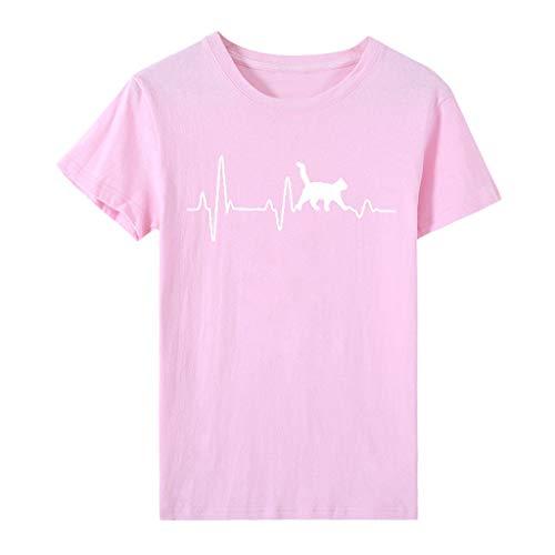 MINGGER Damen Lady Kurzarm O-Ausschnitt Cat Print T-Shirt T-Shirt Tunika Bluse Top...