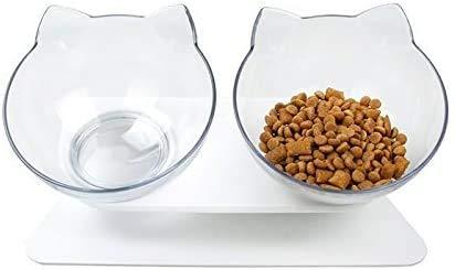 Gxhong Cuenco Doble para Gatos con Soporte Elevado Cuencos para Mascotas Cuencos para Perros, Comederos para Gatos, Tazón de Gato Ortopédico para Gatos y Cachorros