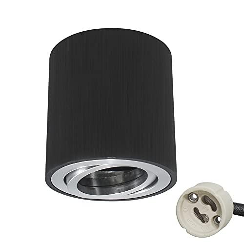 KYOTECH Focos LED Techo Focos Superficie Grientable Lámpara de techo empotrable incl. portalámpara GU10 foco empotrable Lampara focos techo Negro adecuado para módulos GU10 & LED