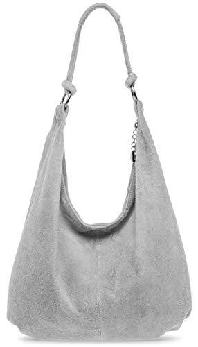 Caspar TL617 große Damen Vintage Veloursleder Tasche, Farbe:hell grau