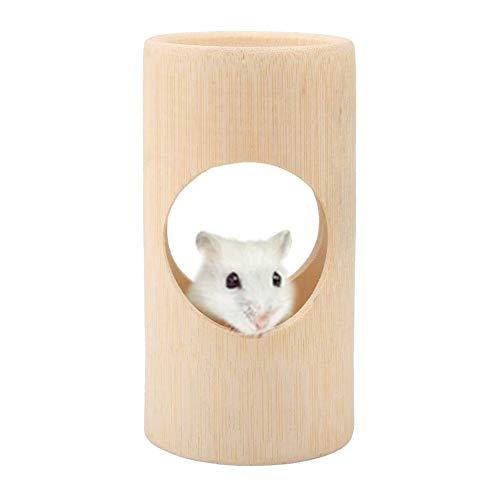 HEEPDD Juguete del túnel del hámster para Mascotas, Juguetes de Tubo de bambú Liso Natural Cama escondida Tubos de la casa Nido Juguetes de masticación Ejercicio de Plataforma para pequeños(L)