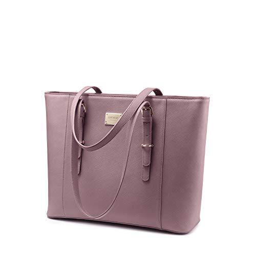 LOVEVOOK Laptoptasche 15.6 Zoll, Damen Handtasche Elegant Große Tasche Schultertasche Tote Bag Shopper für Arbeit Interview Hochschule Uni, PU Leder Pink Lila