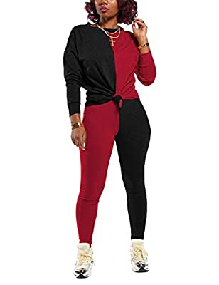 Women Two Piece Outfits,Fall Tracksuit Color Block Top and Bottom Set Tracksuit,Black&Red L