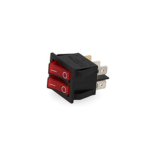eDM R45037 Interruptor Doble Luminoso Empotrado 16 A Retractilado, Multicolor, 30x22 cm