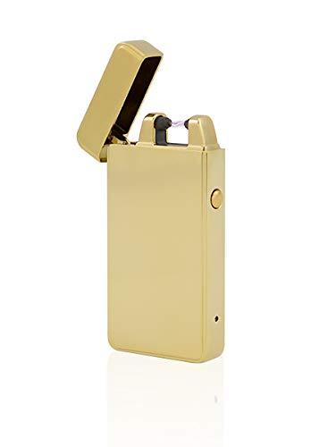 TESLA Lighter TESLA Lighter T01 Gold Lichtbogen Feuerzeug USB Aufladbar Elektro Sturmfest Plasma Einzel-Lichtbogen mit Akku Gold