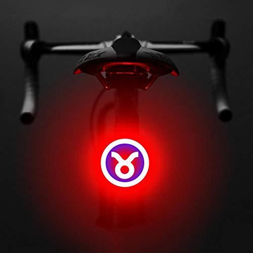 Jaeknxcg Luce Posteriore per Bicicletta USB Ricaricabile della Luce della Bici Impermeabile LED Ricaricabile Impermeabile Avvertimento 5 modalità Luce Posteriore Doppio Lampo Rosso-Blu e Taurus
