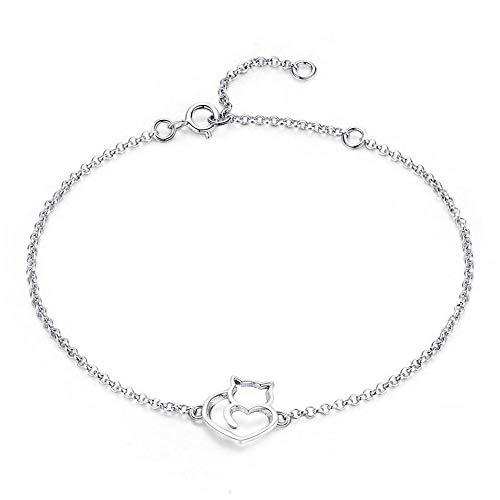 NewL Damen-Armband und Armreifen aus 100 % 925er Sterlingsilber mit Katzen- und Herz-Gliedern, authentischer Silberschmuck, Geschenk