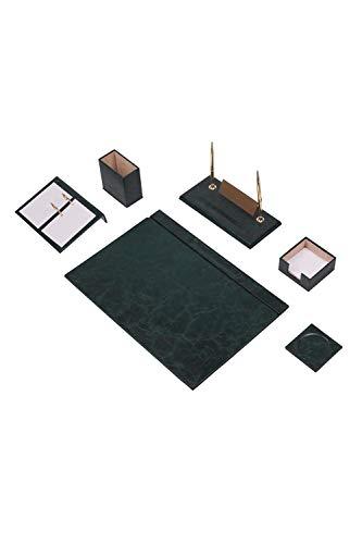 Calme-D - Juego de 8 protectores de escritorio de 49 cm x 34 cm, de piel sintética, en 10 colores a elegir, color: verde
