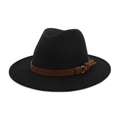 Lisianthus Men & Women Vintage Wide Brim Fedora Hat with Belt Buckle A-Black 59-60cm