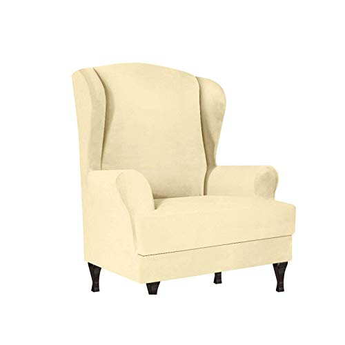 ZHFEL Sesselbezug Elastisch Ohrensessel Überzug Bezug,2-Stück Samt Sesselschoner 1 Sitzer Sesselüberwurf Stretch Abnehmbare waschbar Sesselhusse für Ohrensessel fernsehsessel-Beige
