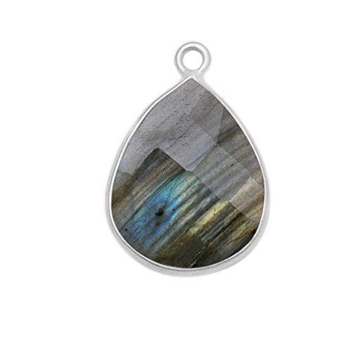 4 Pcs Labradorite Natural Pear, Teardrop 15X18MM 925 Sterling Silver Handmade Bezel Charms Links Connector Pendant Bail DIY Jewelry Making Earrings Bracelet Necklace Crystal Birthstone Accessories