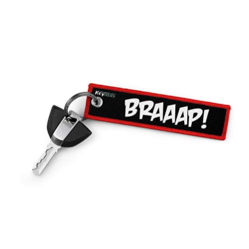 KeyTails Premium-Qualität Motorrad Schlüsselanhänger Schlüsselring Kratzfest Ideal für Ihr Motorrad, Auto [Braaap!]