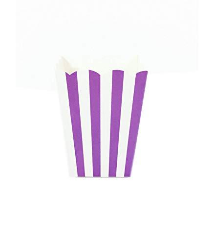 Theme & Deco Sachet Pop-Corn Motif Rayures Violet 6 pcs - Violet