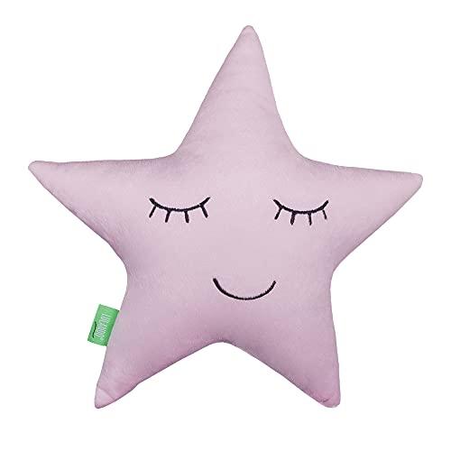 LULANDO Cojín Minky estrella, cojín de algodón para niños, materiales certificados Standard 100 by Oeko-Tex, accesorios para la habitación de los niños, cojín decorativo, suave cojín (rosa)