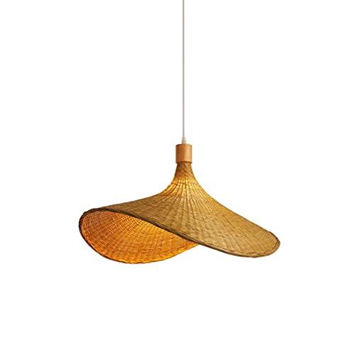 LIUDADA Lampadario a sospensione vintage in bambù, paralume in rattan, lampada a sospensione E27, tessuto a mano, per bar, ristorante, sala da pranzo, soggiorno (30 cm)