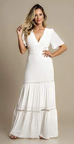 Vestido Branco Longo Fluido em Chiffon com Babados Noiva Casamento Civil Praia Reveillon Festa Ensaio Fotografico (P)