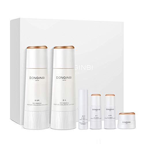 DONGINBI Red Ginseng Korean Skin Care Set, Moisture & Balancing Softener and Emulsion - Moisture & Firming Essence and Cream, Korean Anti Aging Skin Care Routine Kit for Smooth, Radiant Skin by KGC.