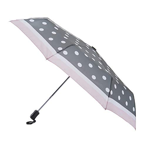 Laura Ashley Womens Ladies Compact Travel Auto Open Close Foldable Umbrella, Windproof, Sun and Rain Proof Water Resistant Canopy - Dots