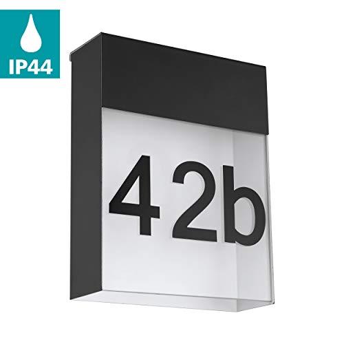 EGLO LED Außen-Wandlampe Ponso, 1 flammige Außenleuchte, inkl. Hausnummern, Wandleuchte aus Stahl und Glas, Farbe: Anthrazit, weiß, IP44