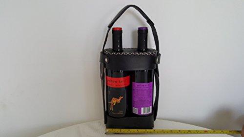 Echt Schwarz Leder Double Deluxe Wein Carrier